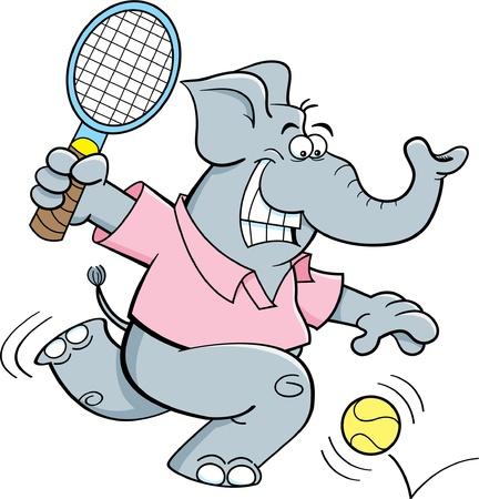 Cartoon illustration of an elephant playing tennis  Stock Illustratie