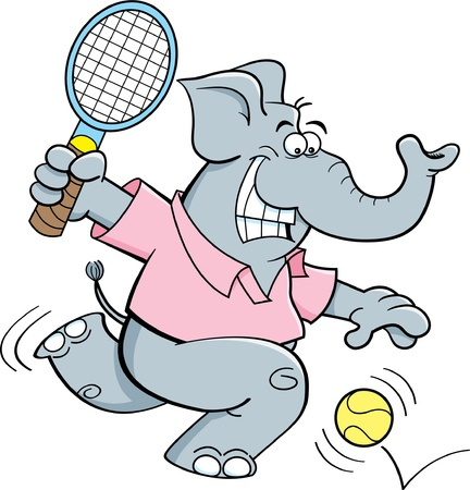 Cartoon illustration of an elephant playing tennis  Illustration