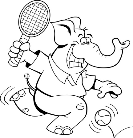 Black and white illustration of an elephant playing tennis