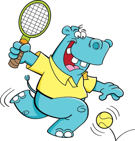 Cartoon illustration of a hippo playing tennis