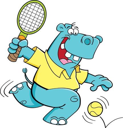 Illustration de bande dessinée d'une playing tennis hippopotame Banque d'images - 17528228