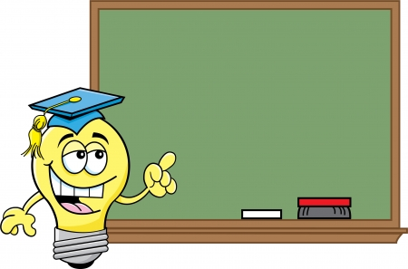 Cartoon illustration of a light bulb at a blackboard  Ilustrace