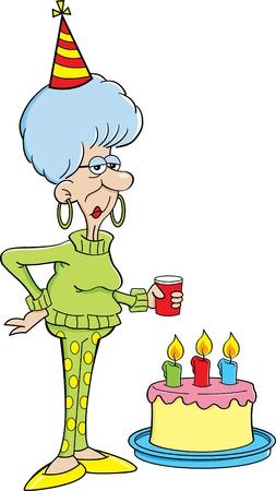 Cartoon illustration of an elderly women with a birthday cake
