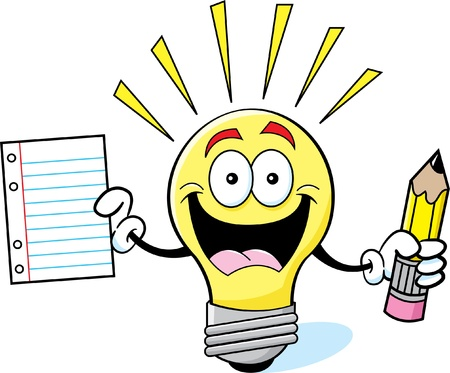 Cartoon illustration of a light bulb holding a pencil and paper  Stock Illustratie