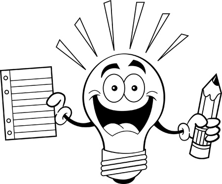 pencil cartoon: Black and white illustration of a light bulb holding a pencil and paper