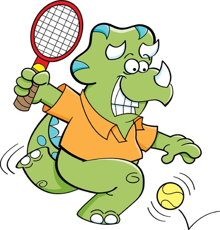 Cartoon illustration of a dinosaur playing tennis  Vector