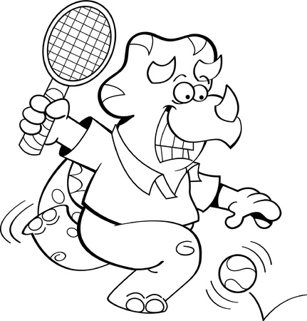 Black and white illustration of a dinosaur playing tennis  Stock Vector - 17688080
