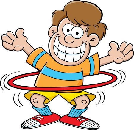 humor: Cartoon illustration of a boy playing with a hula hoop