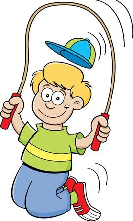 Cartoon illustration of a boy jumping rope 일러스트