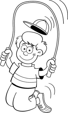 Black and white illustration of a boy jumping rope Ilustração
