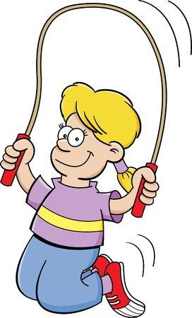 jump rope: Cartoon illustration of a girl jumping rope