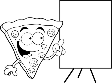 Black and white illustration of a pizza slice pointing to a sign