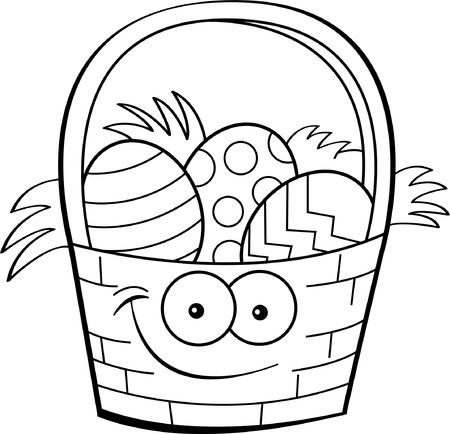 egg cartoon: Black and white illustration of an Easter basket filled with decorated eggs
