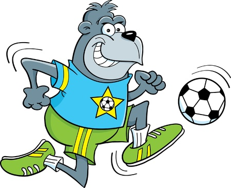 Cartoon illustration of a gorilla playing soccer