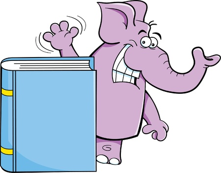 Cartoon illustration of an elephant waving behind a book