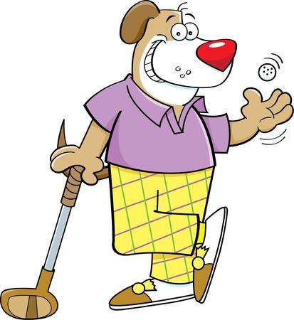 Cartoon illustratie van een hond golfen