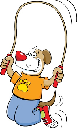 Cartoon illustration of a dog jumping rope