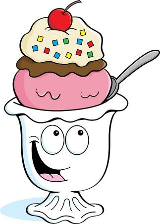 coppa di gelato: Cartoon illustrazione di un gelato sundae