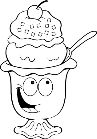 Black and white illustration of an ice cream sundae
