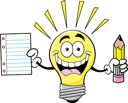 idea: Cartoon illustration of a light bulb holding a paper and pencil