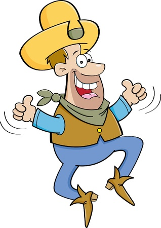 two thumbs up: Cartoon illustration of a cowboy jumping with two thumbs up