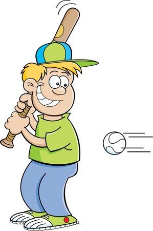 Cartoon illustration of a boy hitting a baseball Stock Vector - 18032529