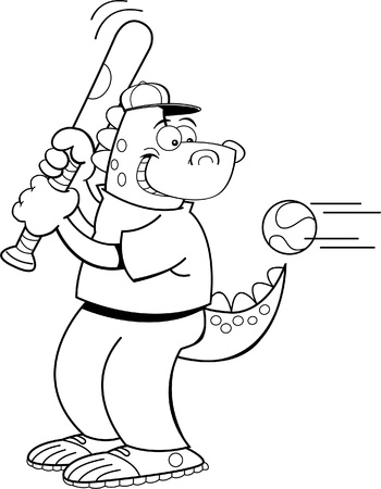 Black and white illustration of a dinosaur hitting a baseball