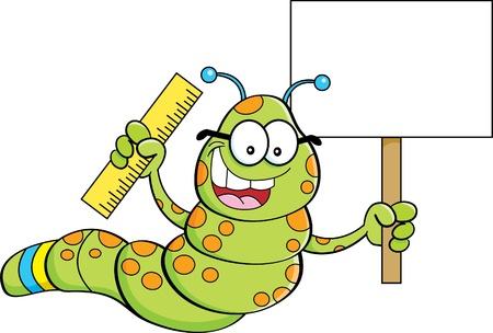 gusano caricatura: Cartoon ilustración de un gusano con un cartel y una regla