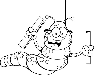 inchworm: Black and white illustration of an inchworm holding a sign and a ruler