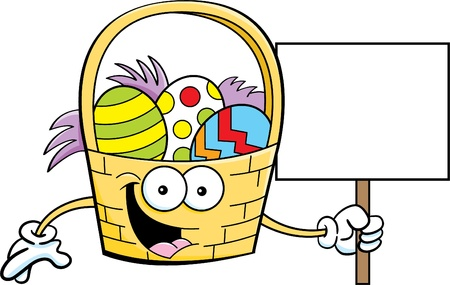 Cartoon illustration of an Easter basket holding a sign  Stock Vector - 18130492