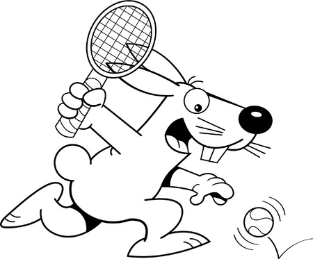 Black and white illustration of a rabbit playing tennis  向量圖像