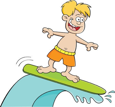 Cartoon illustration of a boy surfing