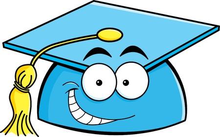 Cartoon illustration of a smiling graduation cap