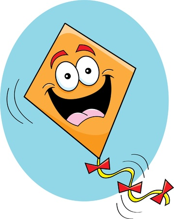 Cartoon illustration of a happy kite