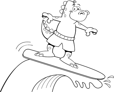 Black and white illustration of a dinosaur surfing  Ilustração