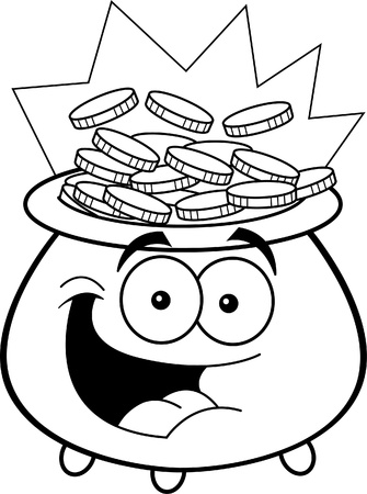 Black and white illustration of a pot of gold