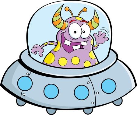 Cartoon illustration of an alien flying in a spacecraft