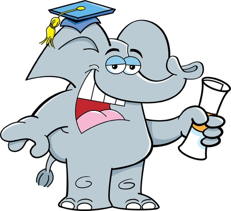 Cartoon illustration of an elephant holding a diploma  Illusztráció