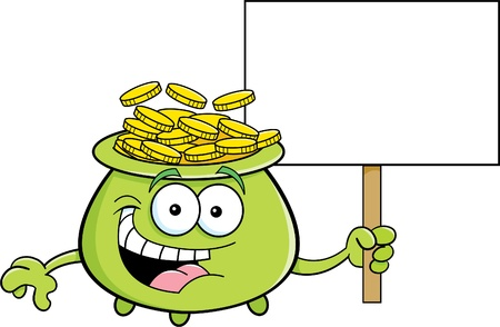 st  patrick s day: Cartoon illustration of a pot of gold holding a sign  Illustration