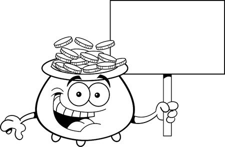 Black and white illustration of a pot of gold holding a sign  Vector