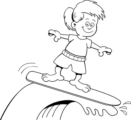 Black and white illustration of a girl surfing