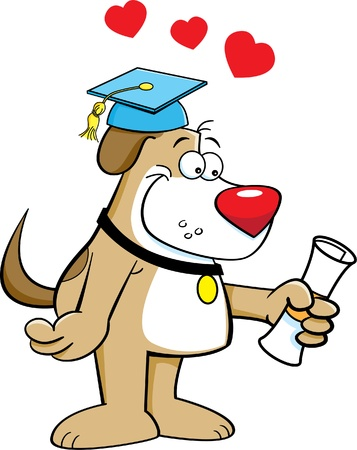 smirking: Cartoon illustration of a dog holding a diploma