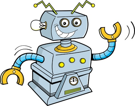 mechanized: Cartoon illustration of a smiling robot