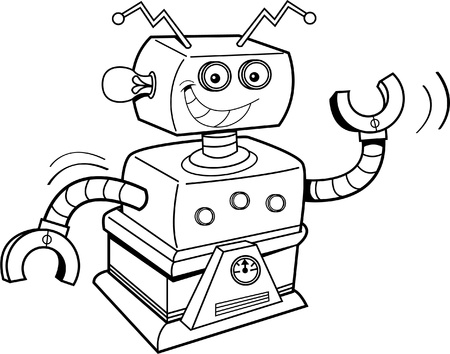 mechanized: Black and white illustration of a smiling robot