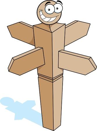 Cartoon illustration of a smiling signpost
