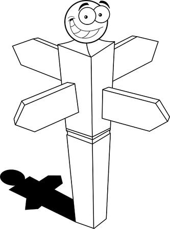 Black and white illustration of a smiling signpost  Illusztráció