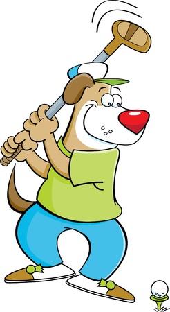 smirking: Cartoon illustration of a dog swinging a golf club  Illustration