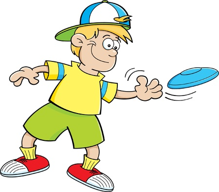 Cartoon illustration of a boy throwing a flying disc  Vector