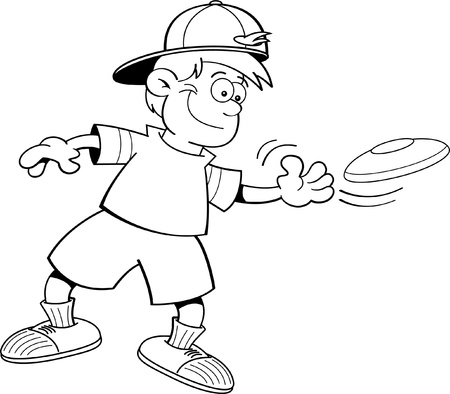 throwing: Black and white illustration of a boy throwing a flying disc