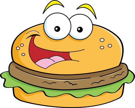 Cartoon illustration of a smiling hamburger